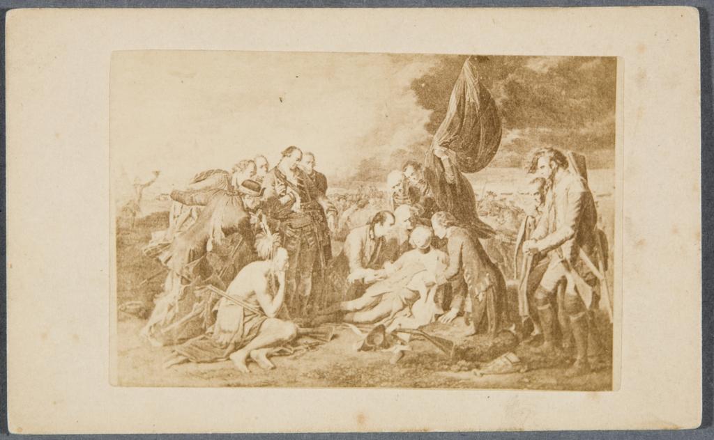 La Mort du général Wolfe. Photographie d'une gravure d'après Benjamin West