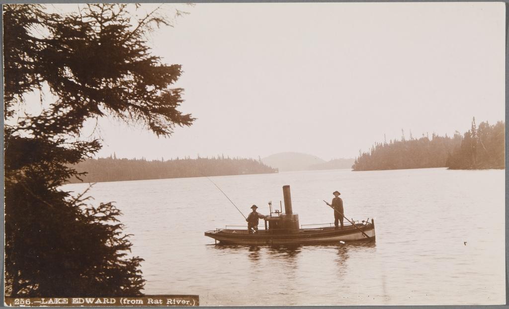 Scène de pêche au lac Édouard vue de la rivière aux Rats