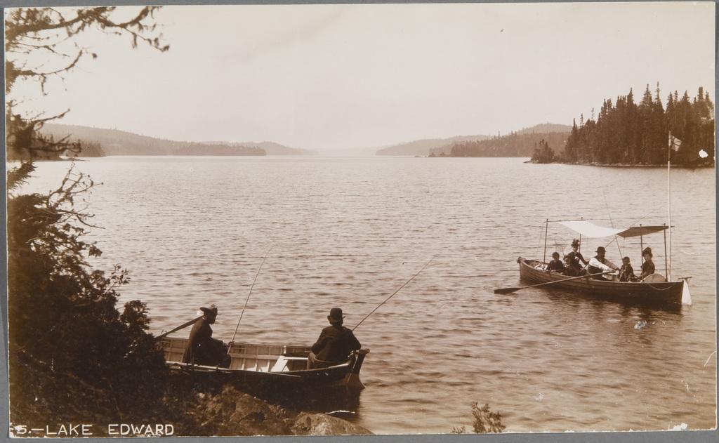 Scène de pêche et promenade en chaloupe au lac Édouard