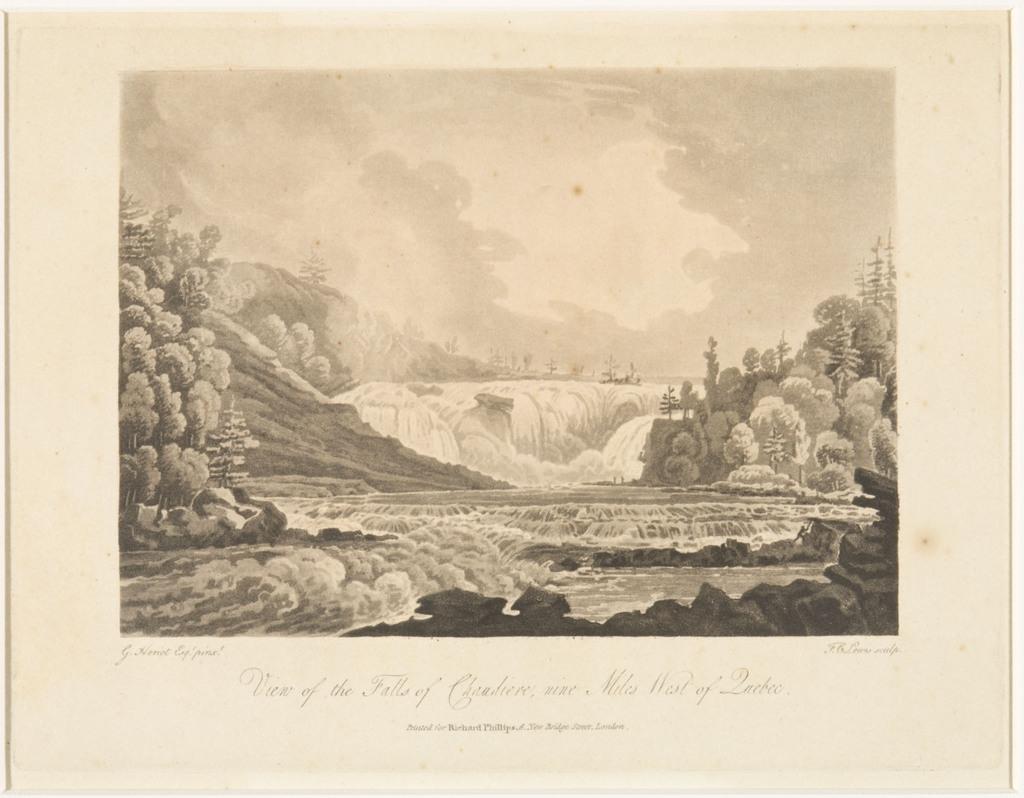 Vue des chutes de la Chaudière, neuf milles à l'ouest de Québec, extrait du livre illustré Travels through the Canadas