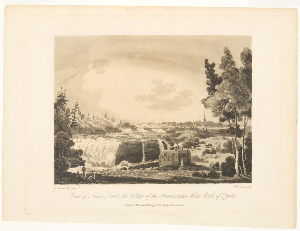 Vue de La Jeune-Lorette, le village des Hurons, neuf milles au nord de Québec, extrait du livre illustré Travels through the Canadas