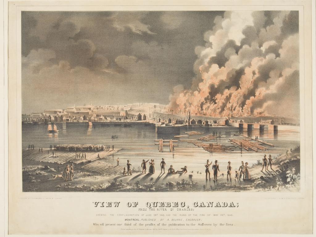 Québec, Canada, vu de la rivière Saint-Charles, montrant la conflagration du 28 juin 1845 et les ruines de l'incendie du 28 mai 1845