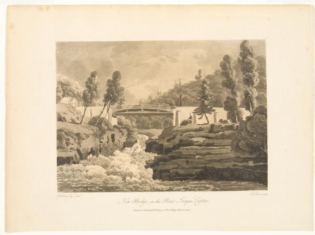 Pont neuf sur la rivière Jacques-Cartier, extrait du livre illustré Travels through the Canadas