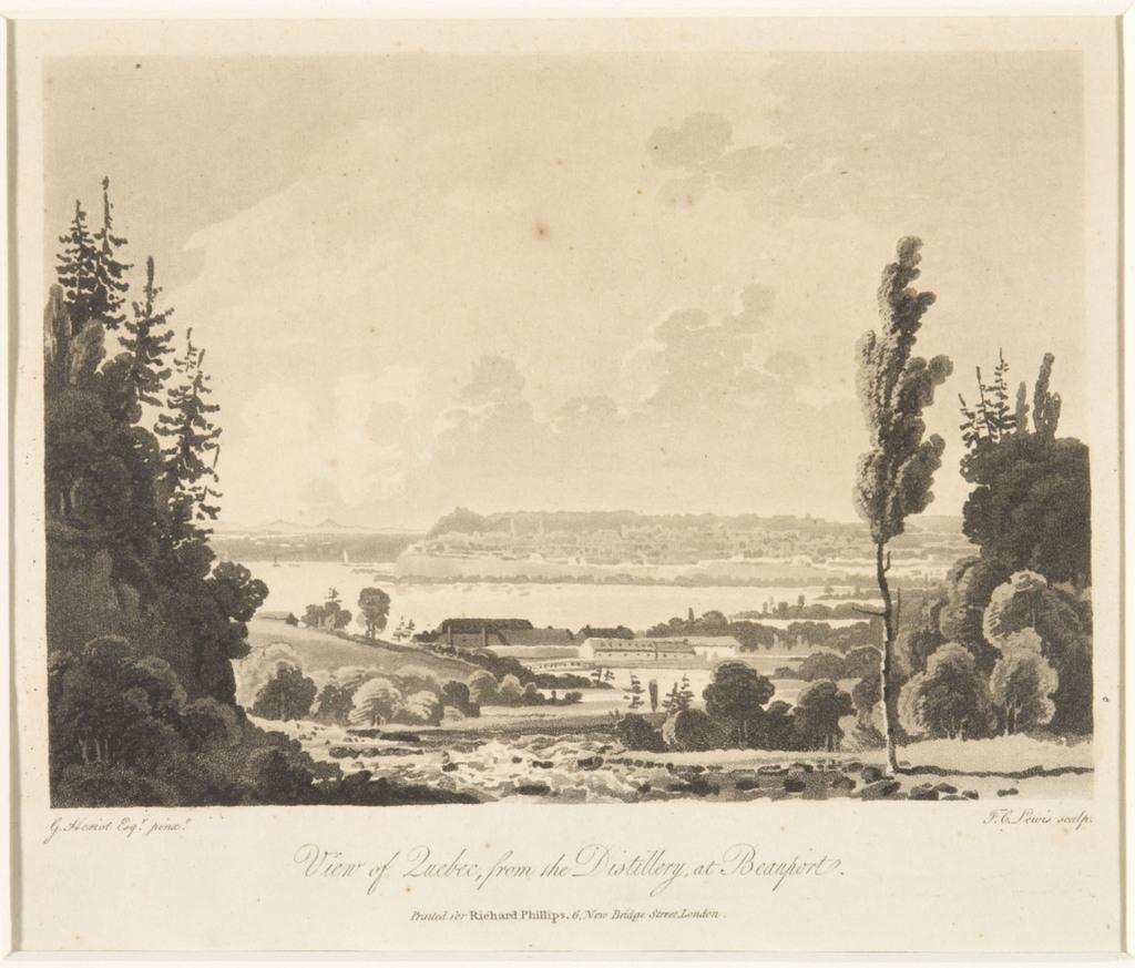 Québec vu de la distillerie de Beauport, extrait du livre illustré Travels through the Canadas
