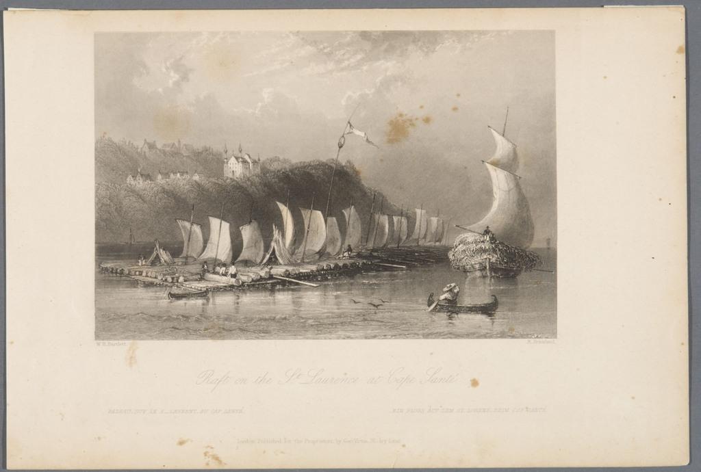 Radeau sur le Saint-Laurent, à Cap-Santé, extrait du Canadian Scenery Illustrated, vol. I