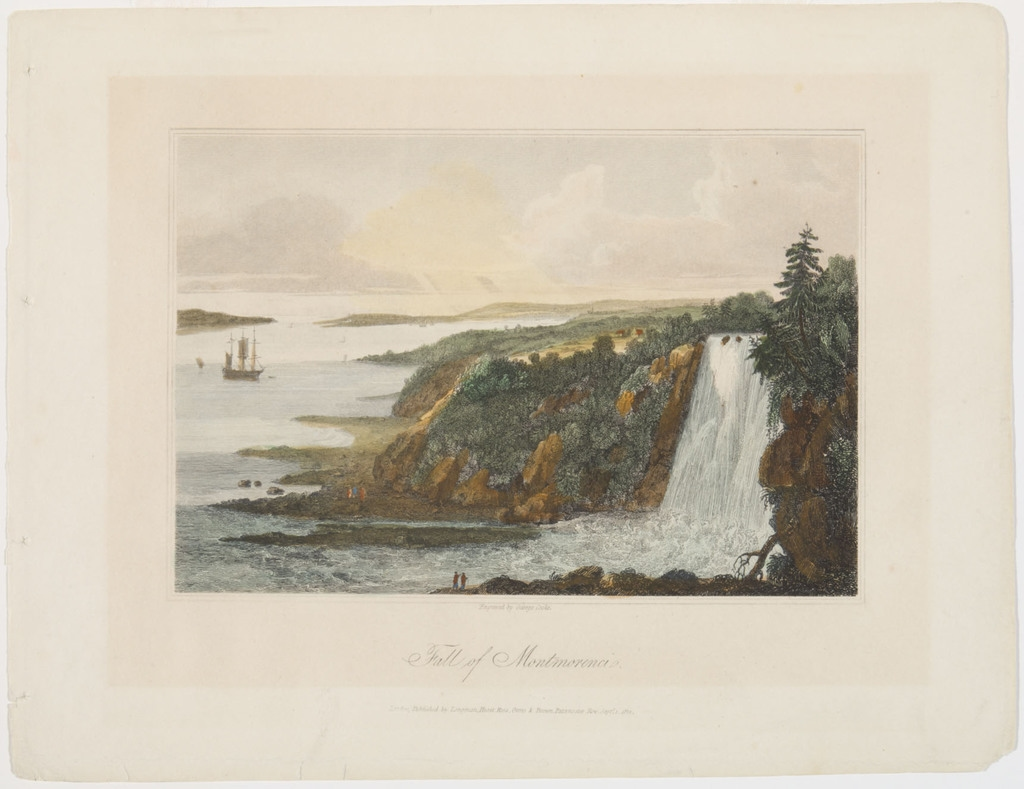 La Chute Montmorency, extrait de l'ouvrage A General Collection of the Best and Most Interesting Voyages and Travels in all Parts of the World de John Pinkerton