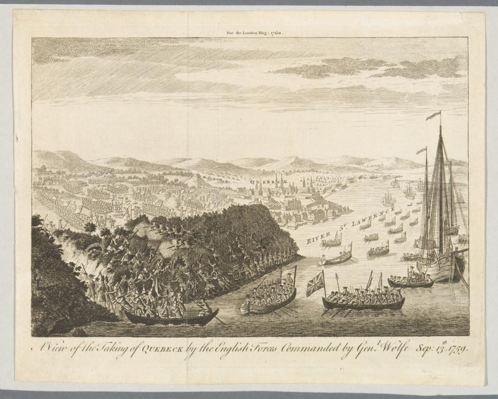 Vue de la prise de Québec par les forces anglaises commandées par le général Wolfe, le 13 septembre 1759, extrait du London Magazine