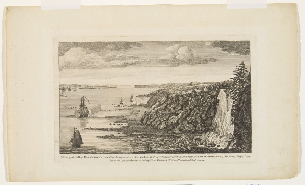 Vue de la chute ou sault Montmorency et de l'attaque des retranchements français, près de Beauport, par le général Wolfe