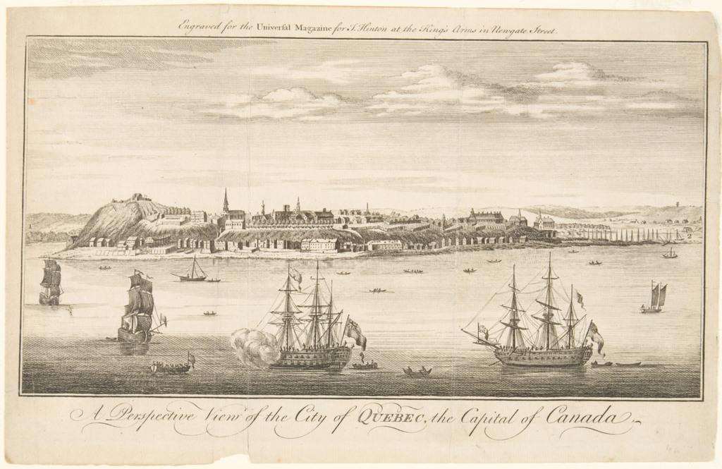 Vue de la ville de Québec, capitale du Canada, extrait du Universal Magazine