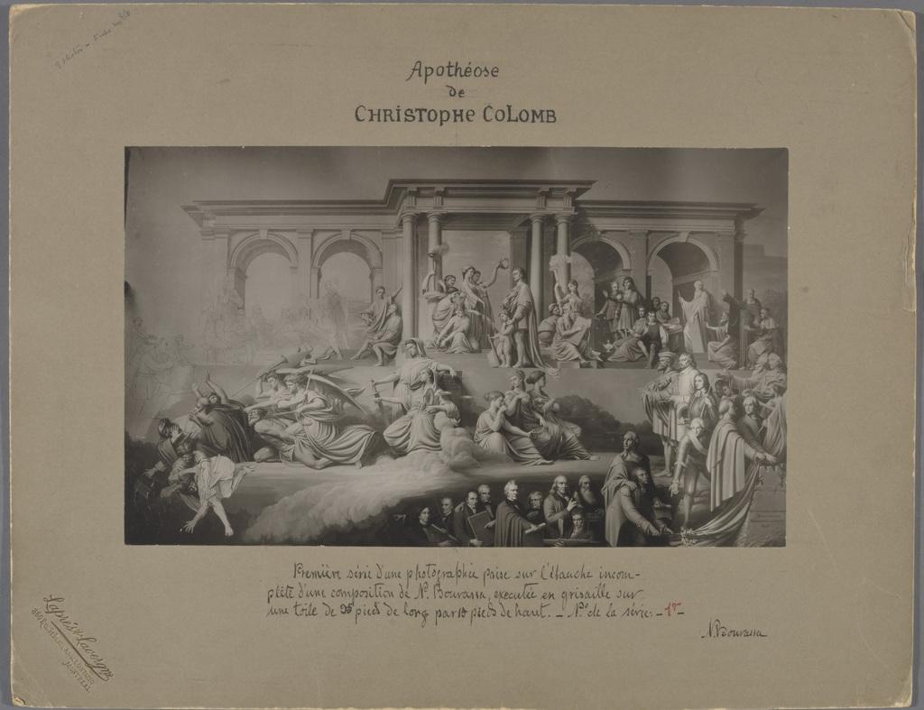 L'Apothéose de Christophe Colomb. Photographie du tableau de Napoléon Bourassa