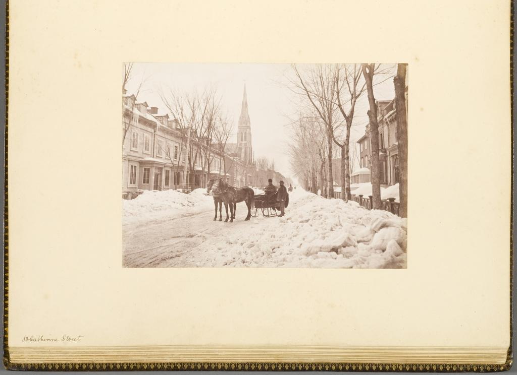 La Rue Sainte-Catherine en hiver, Montréal, de l'album du révérend William M. Black