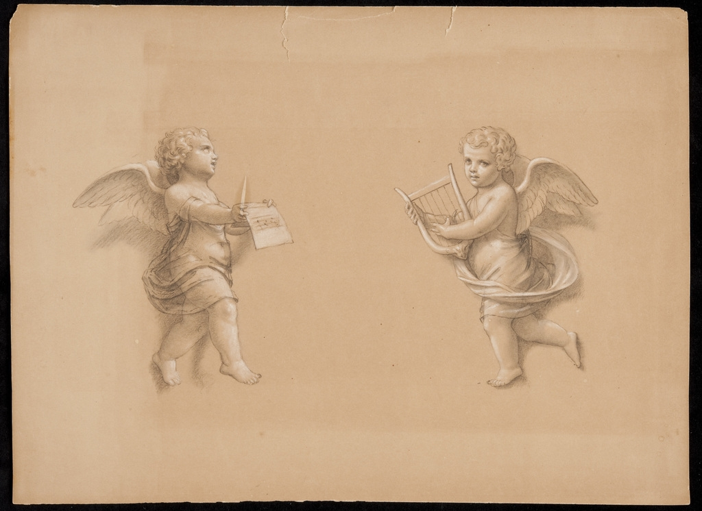 Deux anges tenant une lyre et une feuille de musique. Étude pour la décoration du mur d'entrée de la chapelle Nazareth, Montréal