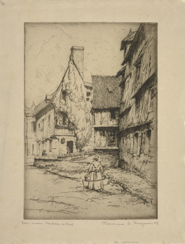 Rue à Caudebec-en-Caux ou Vieilles maisons. Caudebec-en-Caux