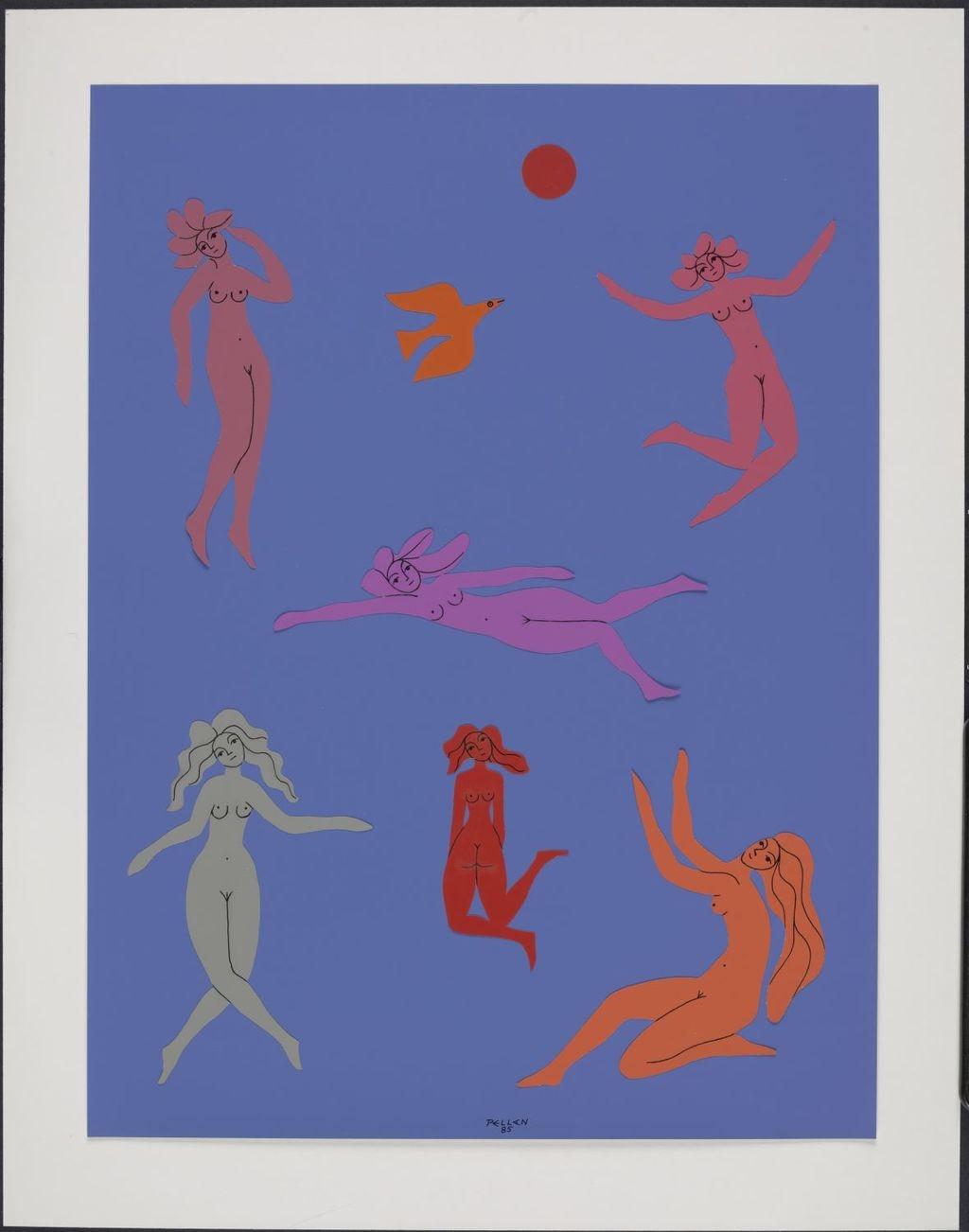 Six Femmes, un oiseau et un soleil rouge
