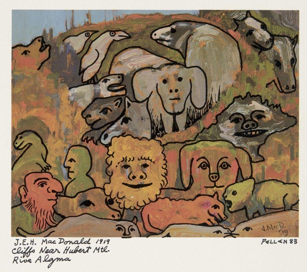 Bestiaire d'après « Cliffs near Hubert, Montreal River, Algoma » de J.E.H. McDonald
