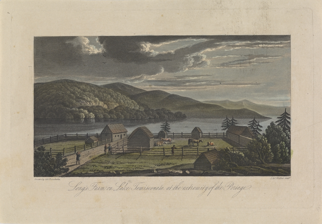 La Ferme Long sur le lac Témiscouata, à l'extrémité du Portage, extrait de l'ouvrage Description topographique de la province du Bas-Canada ou The British Dominions in North America, de Joseph Bouchette
