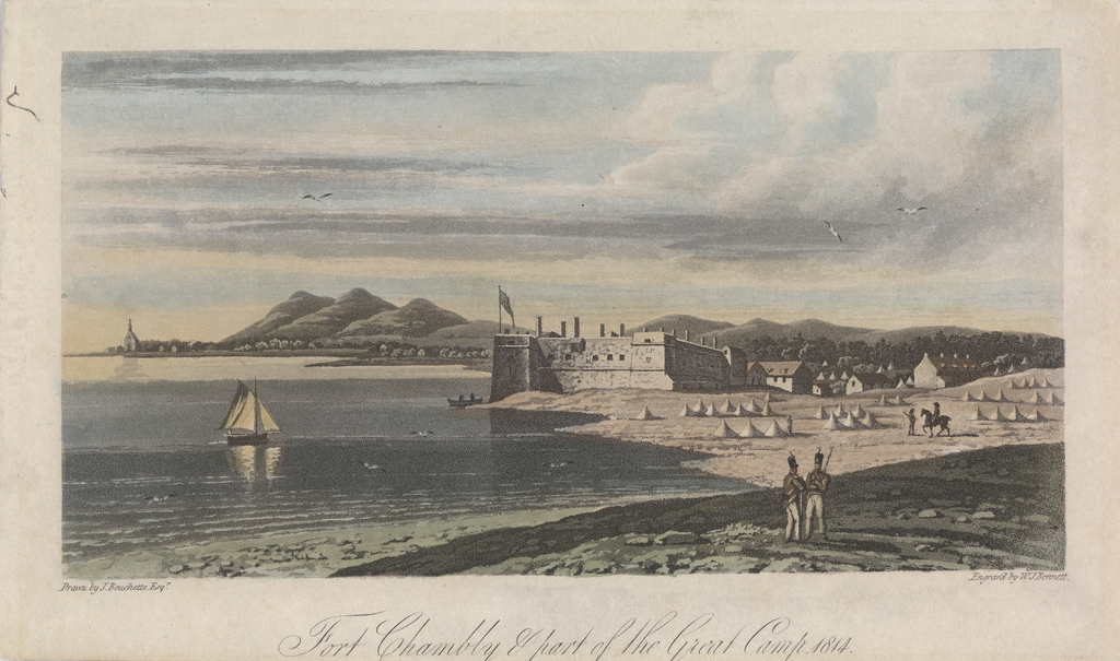 Le Fort Chambly et une portion du grand campement de 1814, extrait de l'ouvrage Description topographique de la province du Bas-Canada ou The British Dominions in North America, de Joseph Bouchette