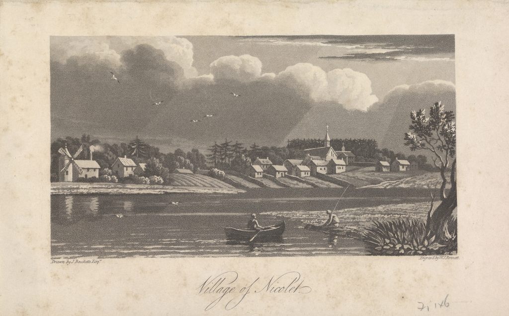 Le Village de Nicolet, extrait de l'ouvrage Description topographique de la province du Bas-Canada de Joseph Bouchette