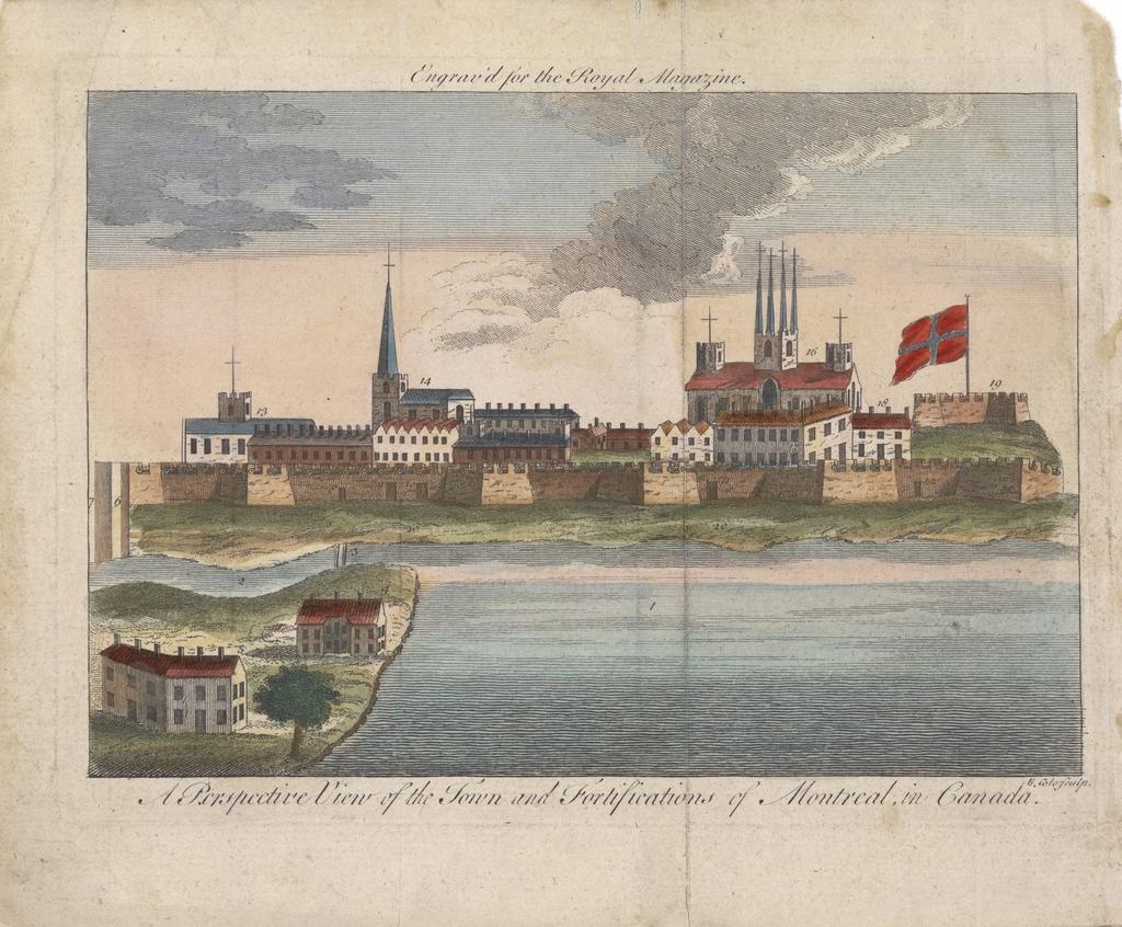 Vue perspective de la ville et des fortifications de Montréal, au Canada, extrait du Royal Magazine