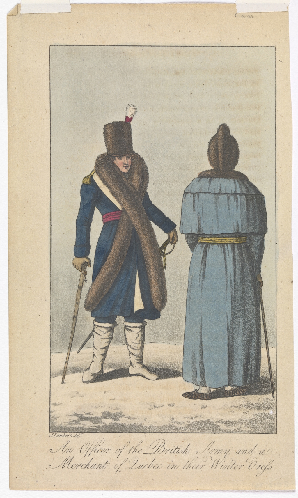 Un officier de l'armée britannique et un marchand de Québec dans leurs vêtements d'hiver, extrait de l'ouvrage Travels through Canada and the United States of North America in the Years 1806, 1807, & 1808