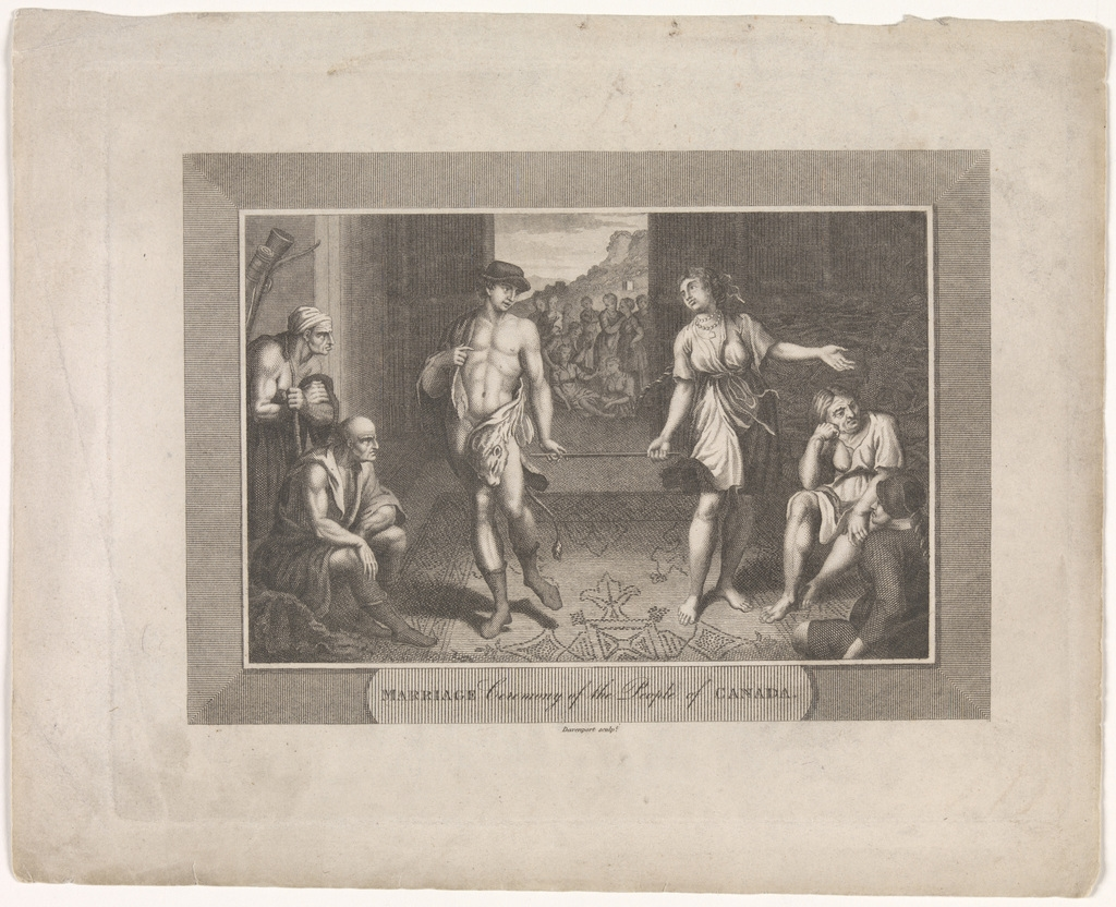 Cérémonie de mariage du peuple du Canada, extrait de l'ouvrage The World, or the Present State of the Universe de Cavendish Pelham
