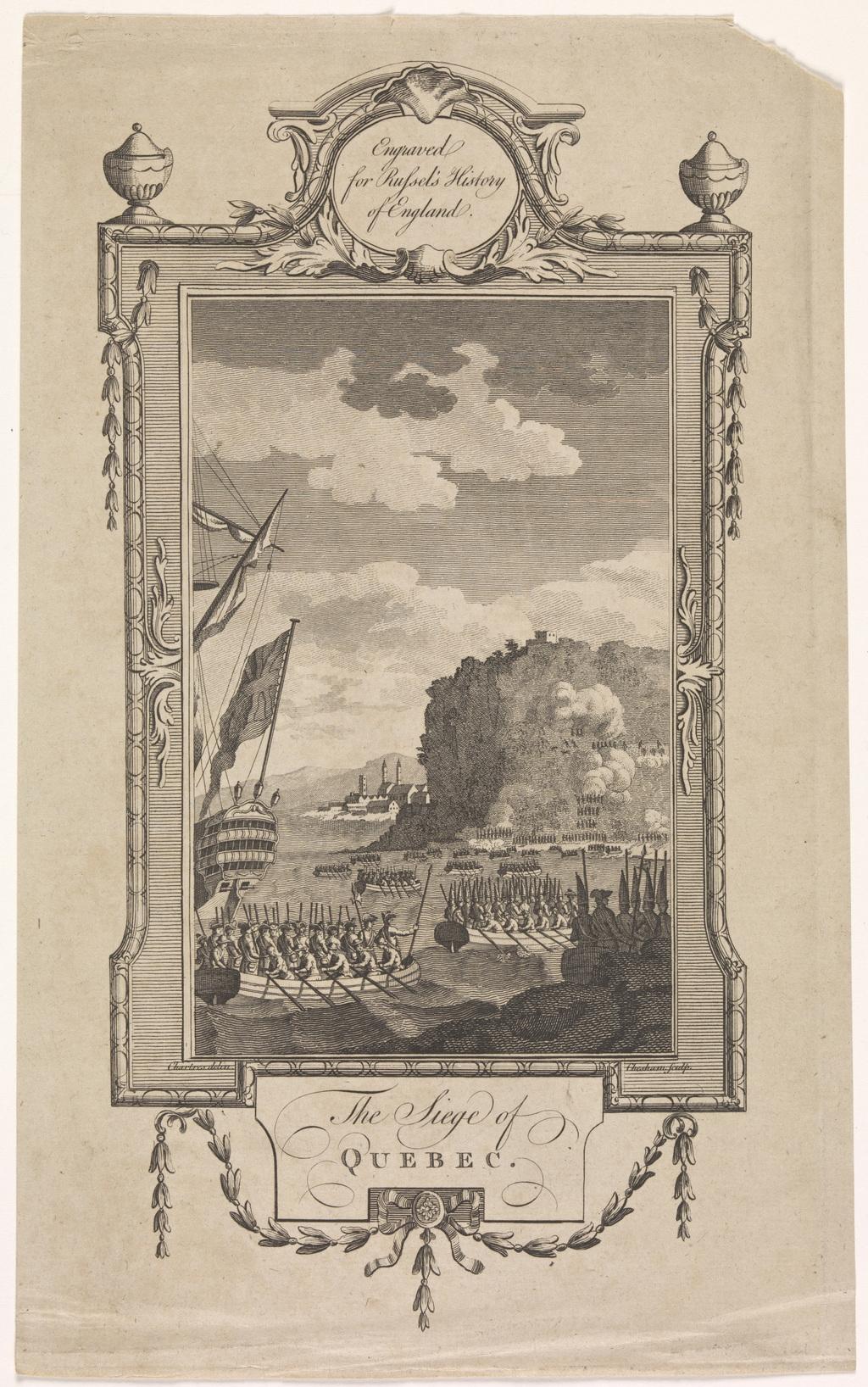 Le Siège de Québec, extrait de l'ouvrage A New and Authentic History of England de William Augustus Russel