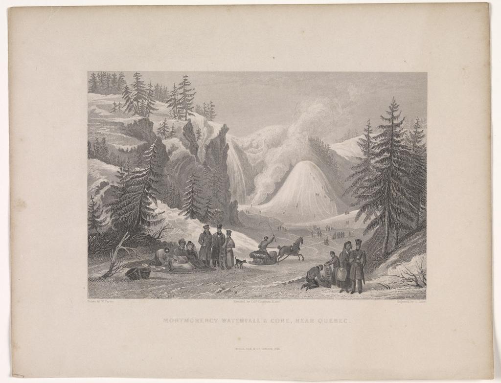La Chute Montmorency et le cône de glace près de Québec, extrait de l'ouvrage Fisher's Drawing Room Scrap Book