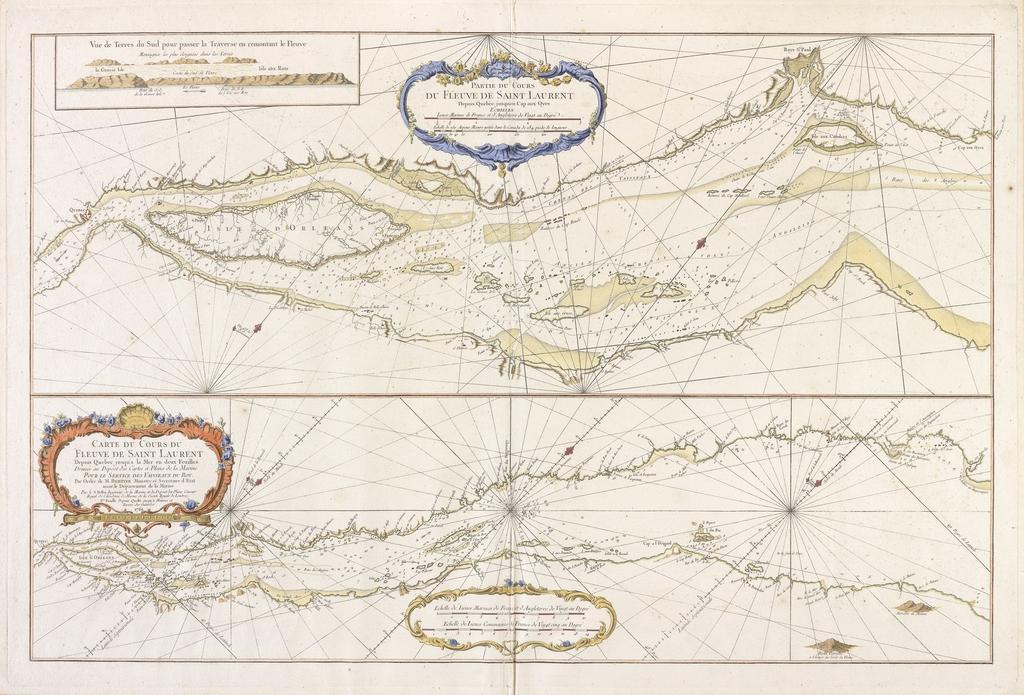 Partie du cours du fleuve Saint-Laurent depuis Québec jusqu'au Cap-aux-Oies. Carte du cours du fleuve Saint-Laurent depuis Québec jusqu'à la mer. Vue des terres du Sud pour passer la traverse en remontant le fleuve