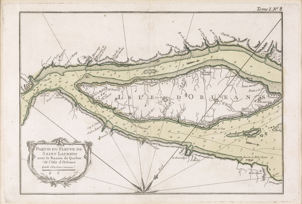 Partie du fleuve Saint-Laurent avec le bassin de Québec et l'île d'Orléans, extrait du Petit Atlas maritime, tome I, de Jacques-Nicolas Bellin