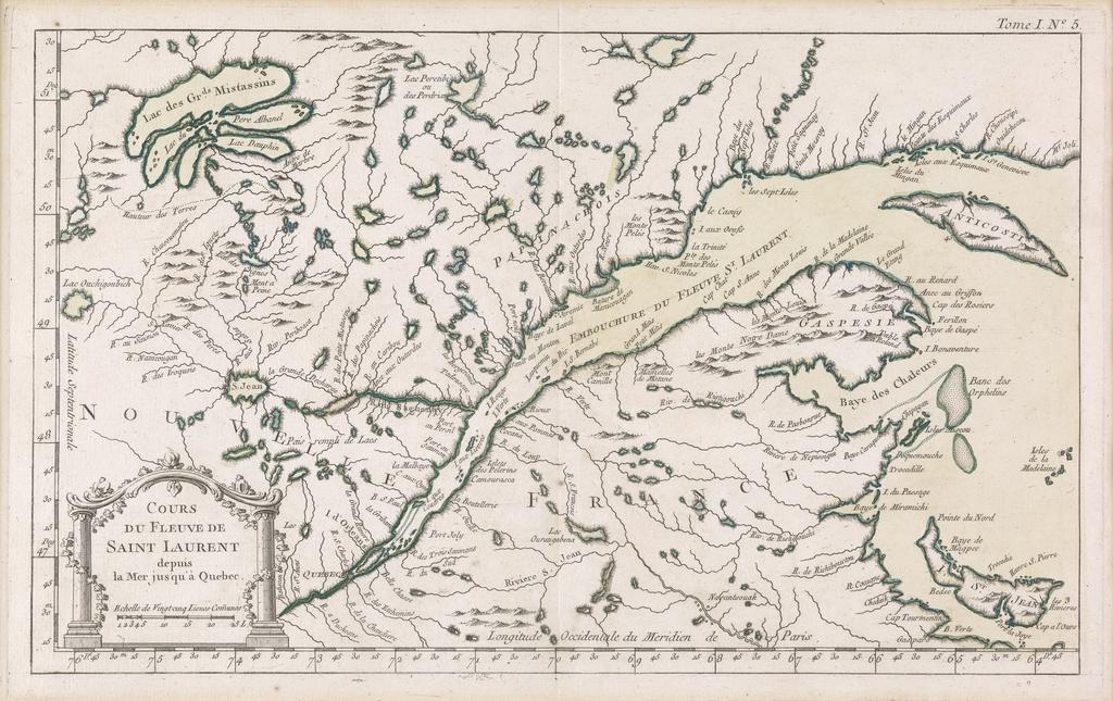 Cours du fleuve Saint-Laurent depuis la mer jusqu'à Québec, extrait du Petit Atlas maritime, tome I, de Jean-Nicolas Bellin