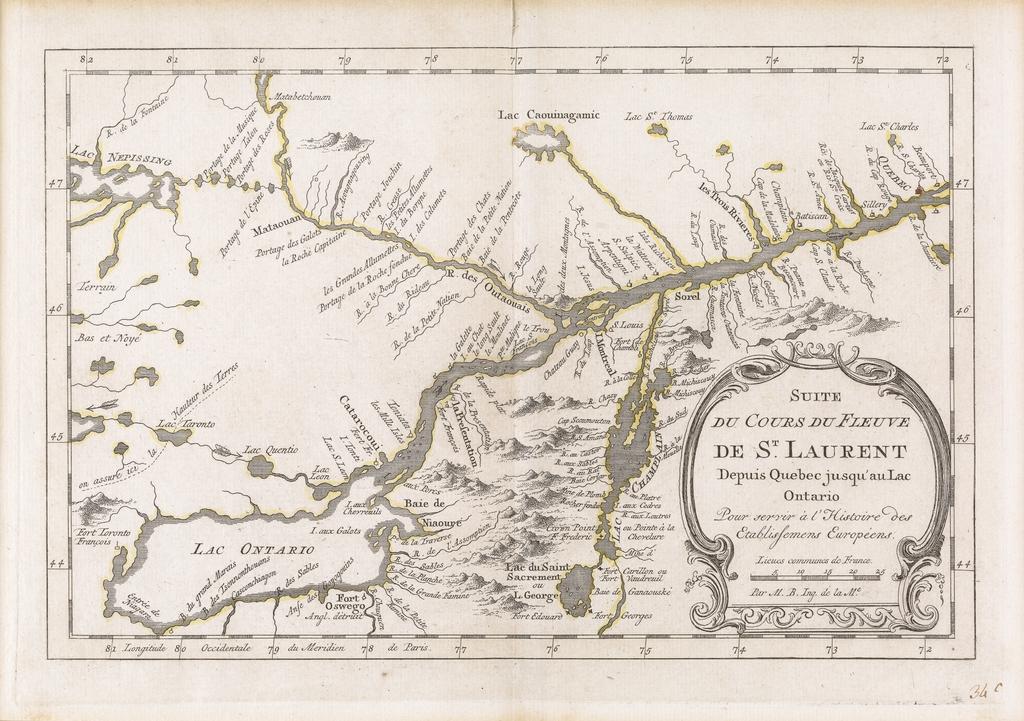 Suite du cours du fleuve Saint-Laurent depuis Québec jusqu'au lac Ontario, extrait de l'Atlas portatif pour servir l'intelligence de l'Histoire philosophique et politique des établissements et du commerce des Européens dans les deux Indes de Guillaume-Thomas Raynal