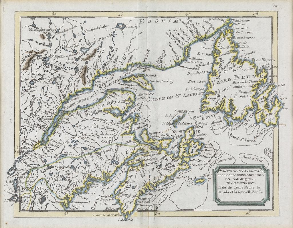 Partie septentrionale des possessions anglaises en Amérique où se trouvent l'île de Terre-Neuve, le Canada et la Nouvelle-Écosse, extrait de l'Atlas général à l'usage des collèges et maisons d'éducation de Jean-Baptiste Nolin