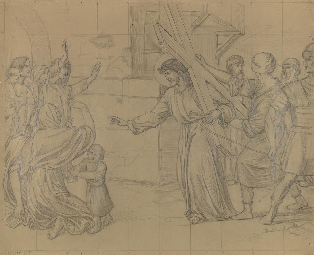 Jésus rencontre les femmes de Jérusalem. VIIIe Station du chemin de la Croix