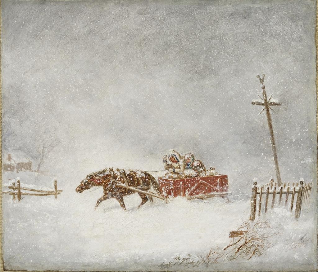 Couple d'habitants sous le blizzard