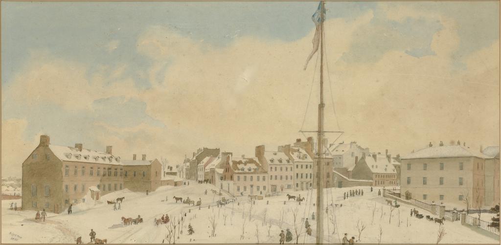 Le Château Haldimand, les rues des Carrières et Saint-Louis, le palais de justice et la place d'Armes vus de l'Hôtel Union en hiver, Québec