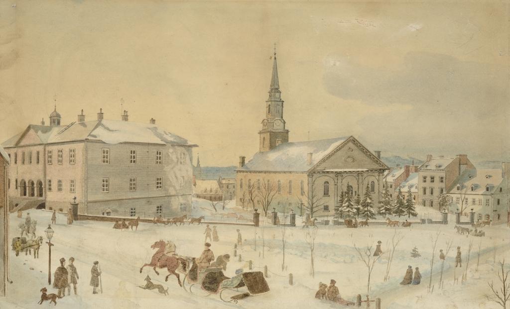 Le Palais de justice, la cathédrale Holy Trinity, la rue Sainte-Anne et la place d'Armes en hiver, Québec