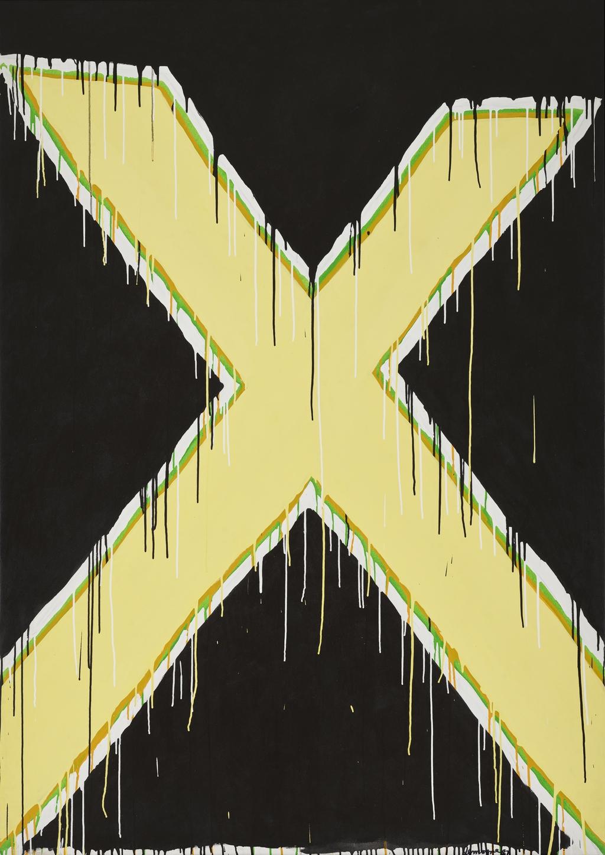 Intersection jaune sur fond noir