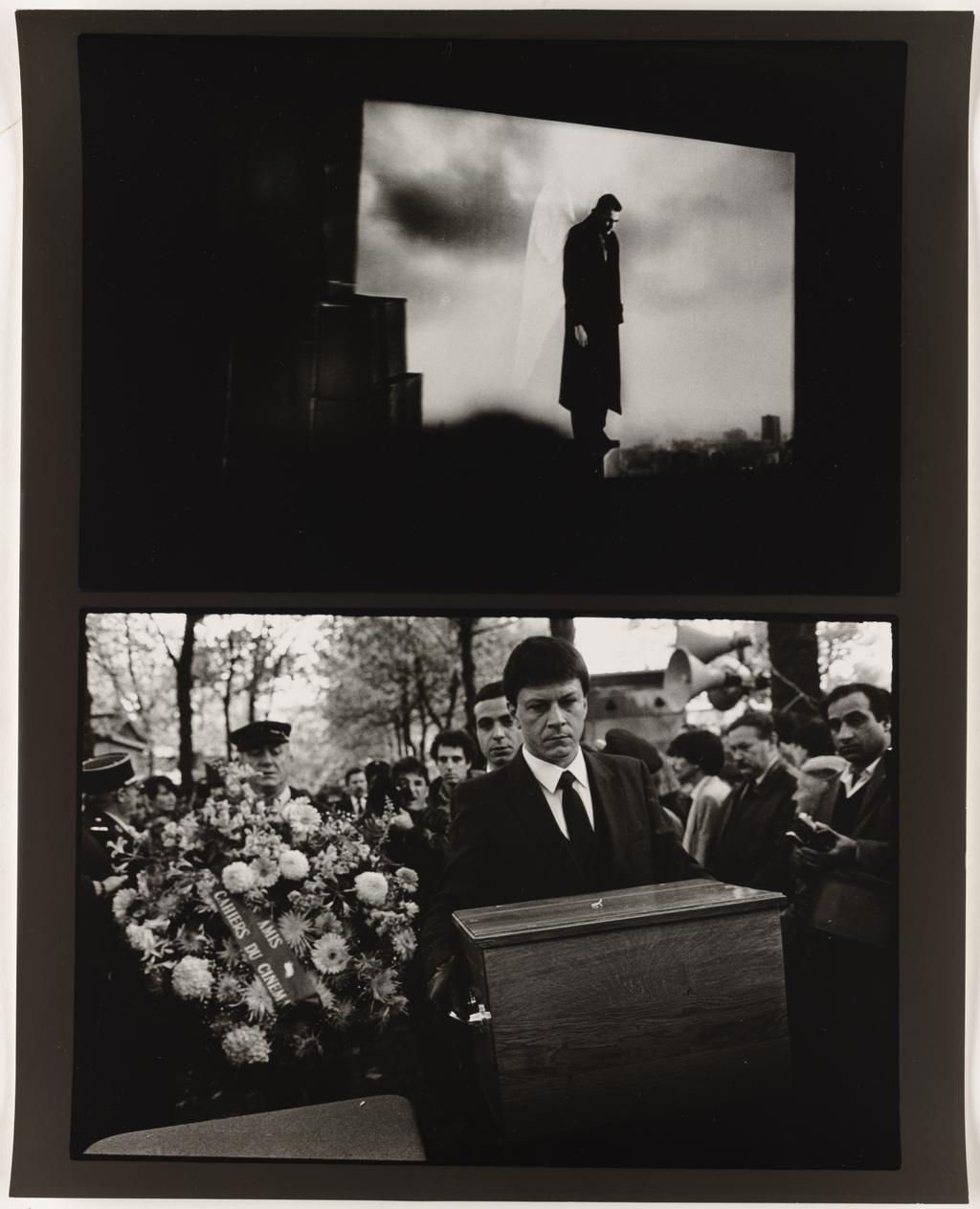 Écran cinématographique : Wim Wenders, « Les Ailes du désir », 1988 (haut); L'Enterrement de François Truffaut, Paris, 1984 (bas), de la série Les Tremblements du coeur, première séquence 4/8