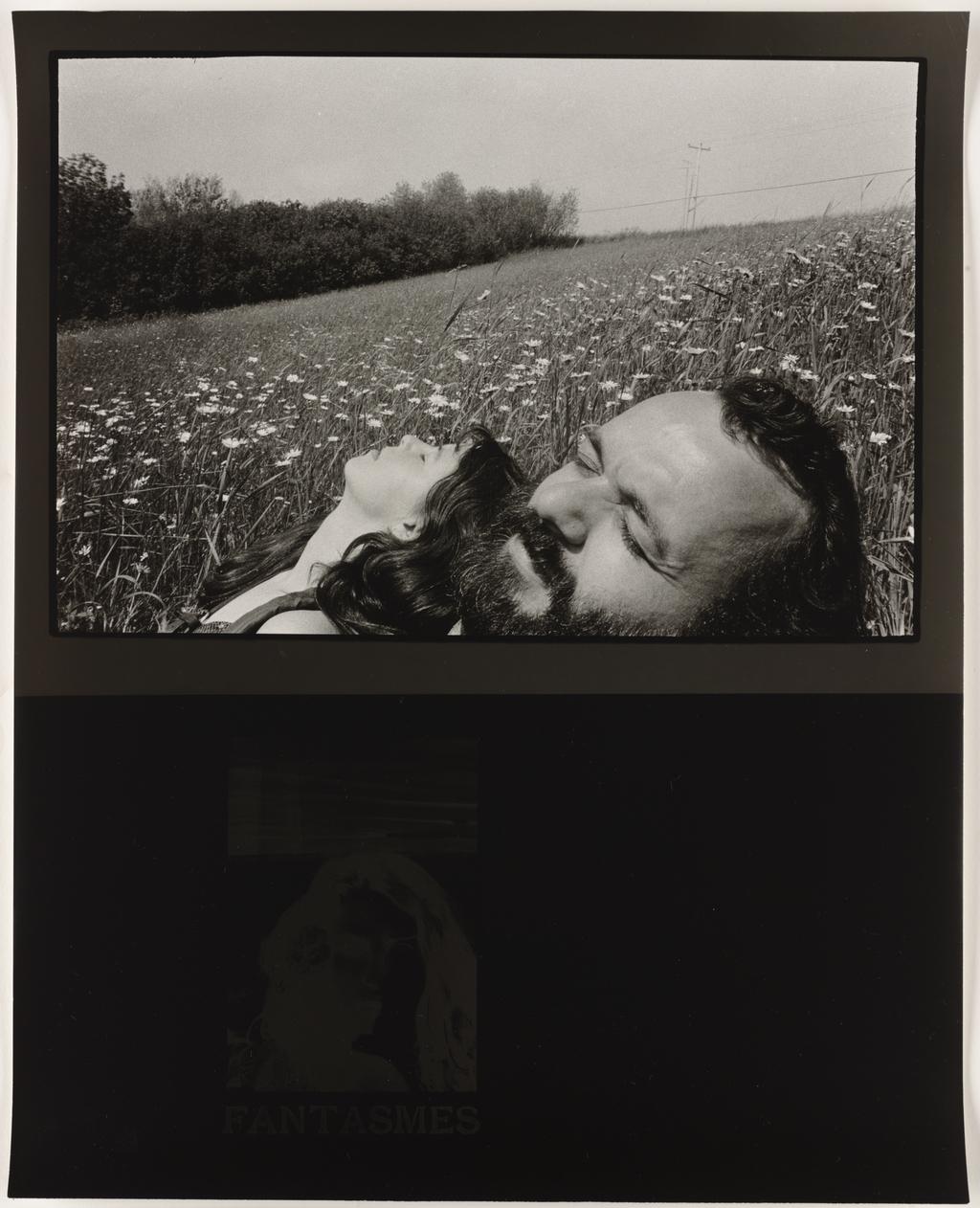 Autoportrait avec Nicole en Beauce, 1981 (haut); Image négative : Robert Frank, « Mary », extrait de l'album  « The Lines of My Hand », Lustrum Press, « Fantasmes », 1988 (bas), de la série Les Tremblements du coeur, deuxième séquence 6/8