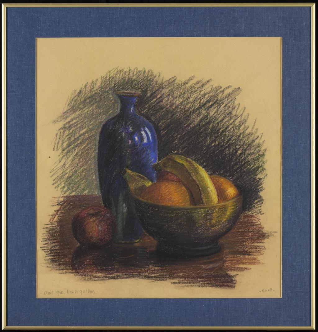 Nature morte au vase bleu et aux bananes